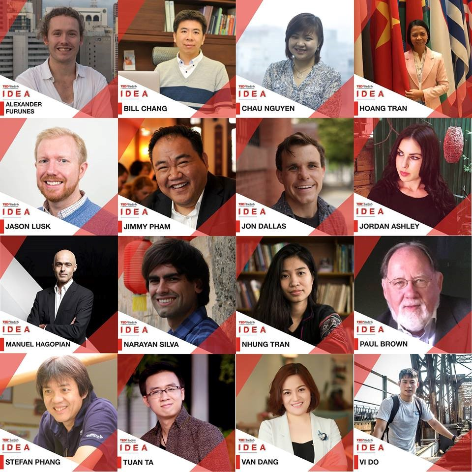 The range of amazing local and international talent we've got lined up for you at Hanoi's latest TEDx - TEDxBadinh 2017 - IDEA - on 16 April!